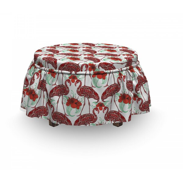Flamingo Floral Birds 2 Piece Box Cushion Ottoman Slipcover Set By East Urban Home