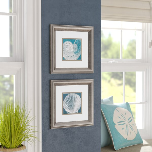 Coastal Menagerie Framed Graphic Art Set (Set of 2) by Beachcrest Home