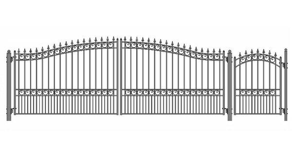 London Steel Dual Swing Driveway Gate with Pedestrian Gate by ALEKO