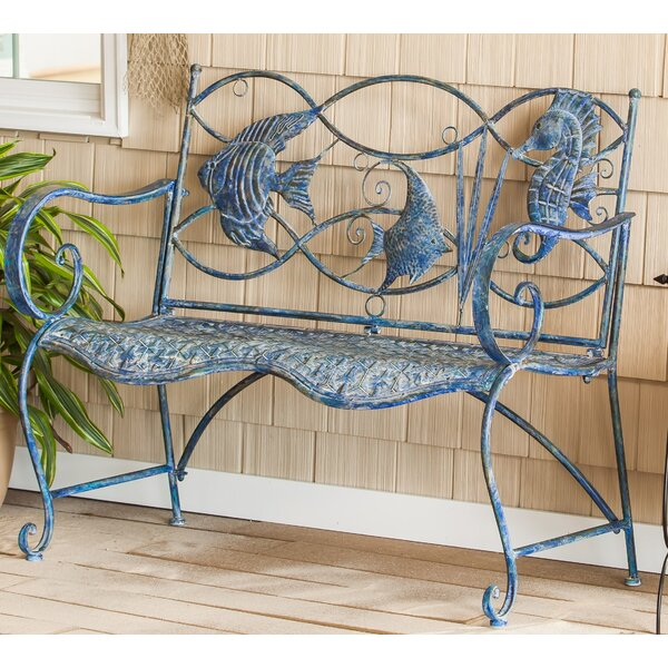 Brynne Blue Fish Metal Garden Bench by Highland Dunes