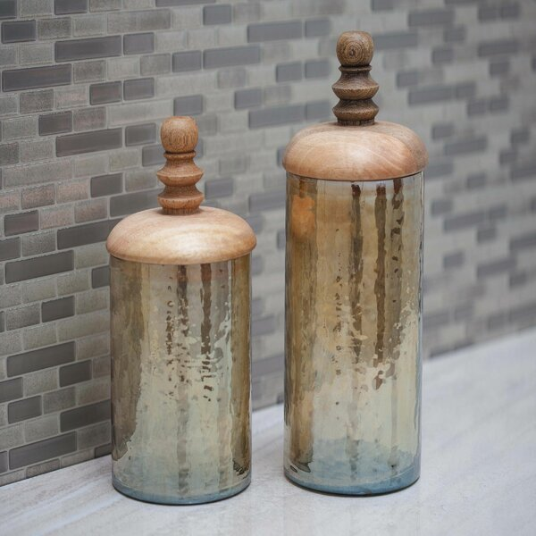 Glass/Wood 2-Piece Kitchen Canister Set by Highland Dunes
