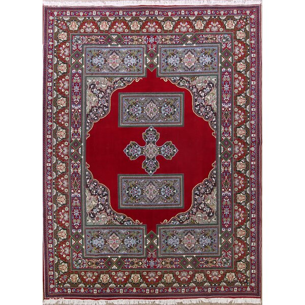 Decorative Soft Plush Traditional Kerman Persian Red/Gray Area Rug by Isabelline