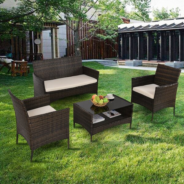 Gemala Patio 4 Piece Rattan Sofa Seating Group with Cushions by Latitude Run