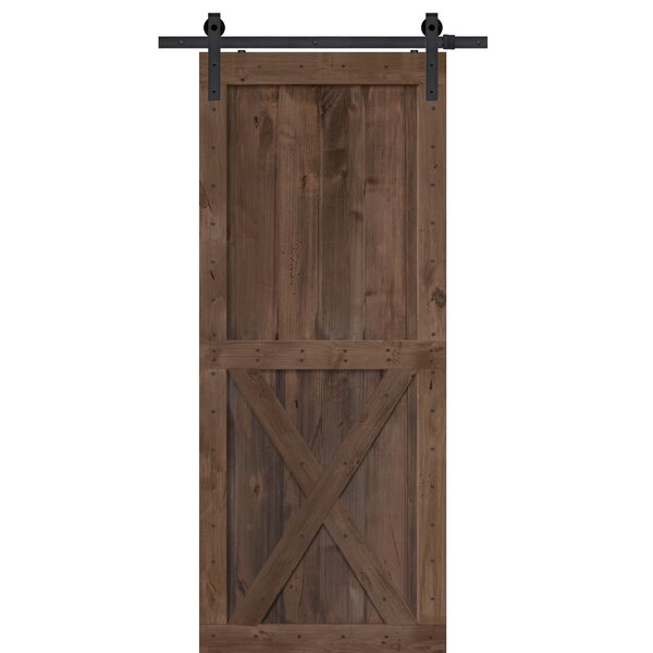 Single X Solid Wood Panelled Alder Interior Barn Door by Barndoorz