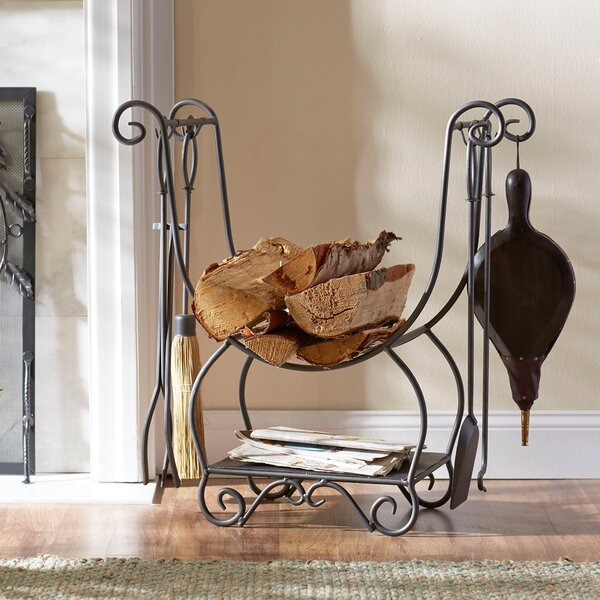 Arrington 4-Piece Fireplace Set and Log Holder by Birch Lane™