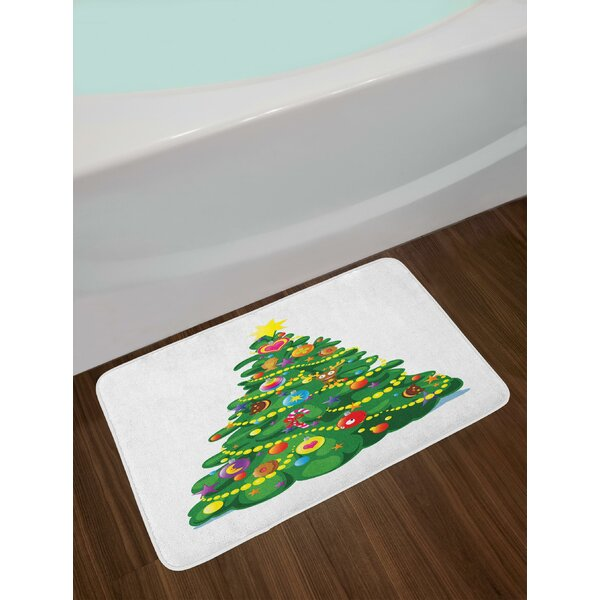 Children Cartoon Drawing Style Xmas Tree with Funny Aspects Cookies Hearts Stars Bath Rug by East Urban Home