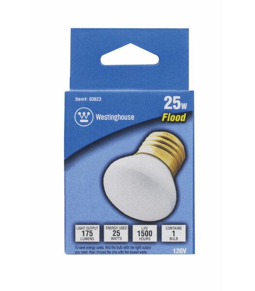 25W E26 Dimmable Incandescent Edison Floodlight Light Bulb by Westinghouse Lighting