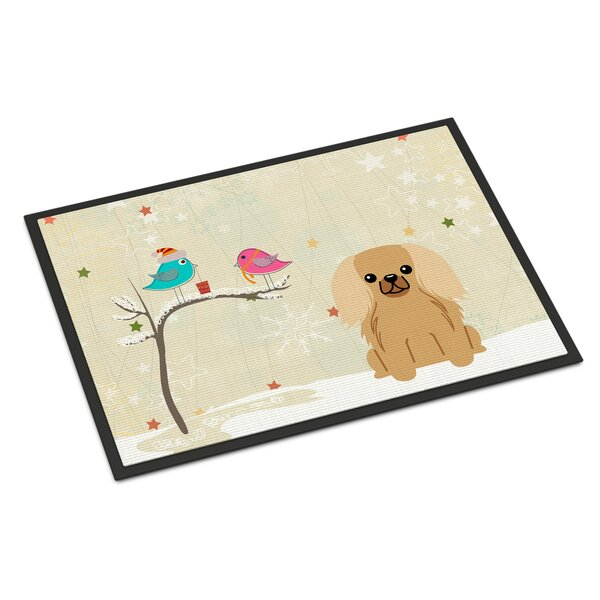 Christmas Presents Between Friends Pekingnese Non-Slip Outdoor Door Mat