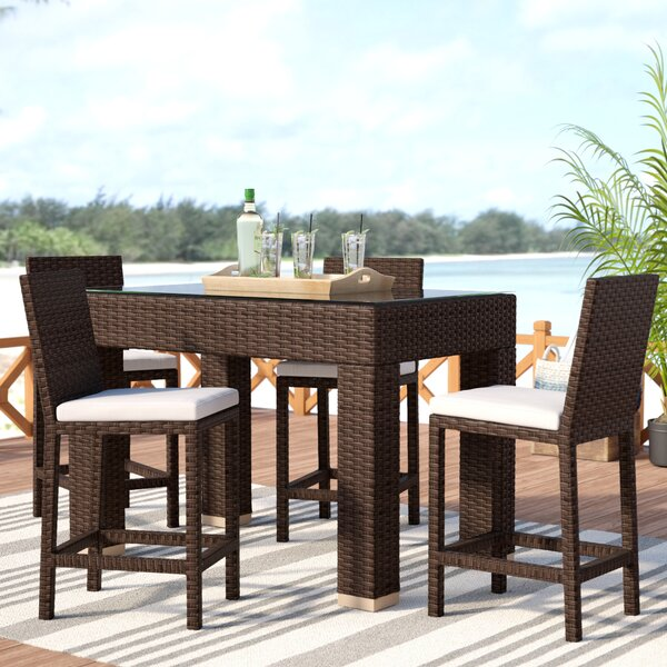 Wrisley 5 Piece Bar Height Dining Set with Cushions by Beachcrest Home