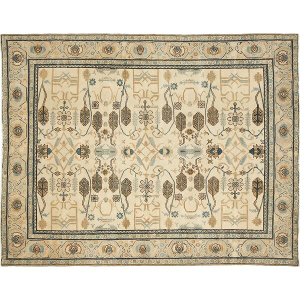 One-of-a-Kind Romona Hand-Knotted Ivory Blue/Gold Area Rug by Isabelline