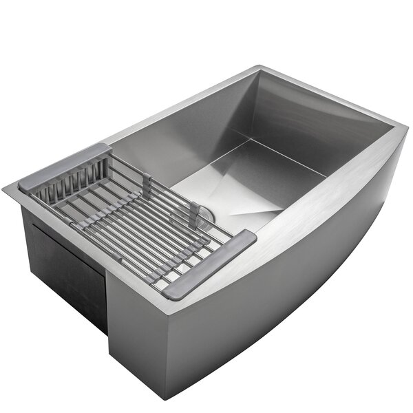 33 x 22 Farmhouse Apron Stainless Steel Single Bowl Kitchen Sink w/ Adjustable Tray and Drain Strainer Kit by AKDY