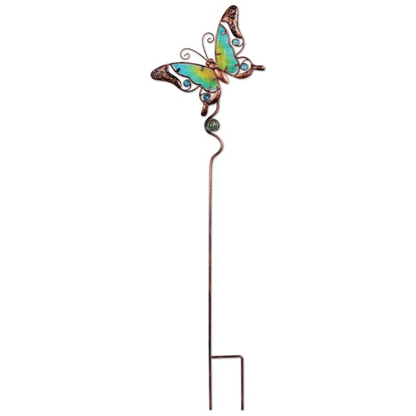 Fei Metal Glass and Marble Butterfly Garden Stake by August Grove