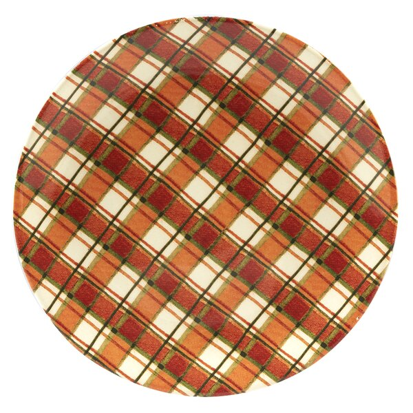 Layla Plaid Round Platter by The Holiday Aisle