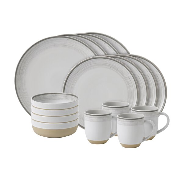 Brushed Glaze 16 Piece Dinnerware Set, Service for 4 by ED Ellen DeGeneres Crafted by Royal Doulton