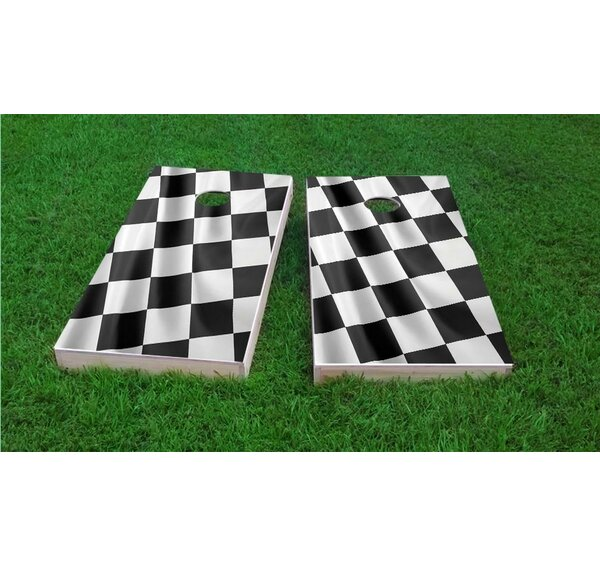 Full Size Checkered Flag Light Weight Cornhole Game Set by Custom Cornhole Boards
