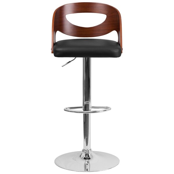 Evan Adjustable Height Swivel Bar Stool by Wrought Studio