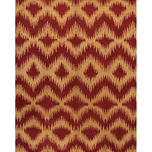 One-of-a-Kind Picabo Moroccan Oriental Genuine Hand-Knotted Wool Red/Burgundy Area Rug by Bloomsbury Market