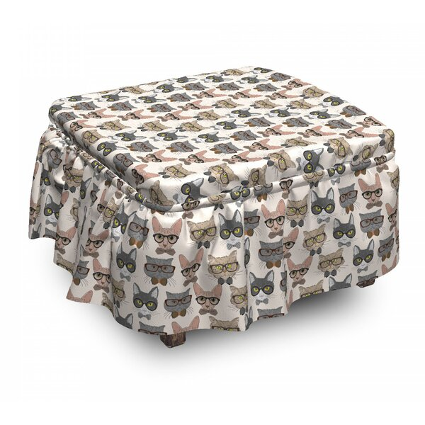 Cat Hipster Nerd Characters 2 Piece Box Cushion Ottoman Slipcover Set By East Urban Home