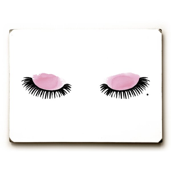 Eyelashes Watercolor Painting Print on Wood by Mercer41