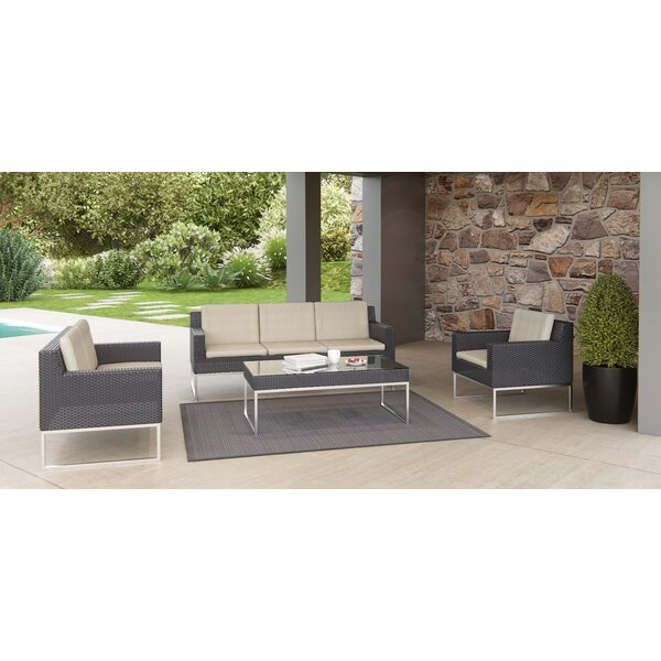 Markowitz 4 Piece Rattan Sofa Set with Cushions by Brayden Studio