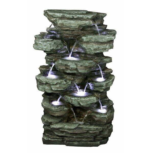 Tiered Rock Rainforest Fountain with Light by Benzara