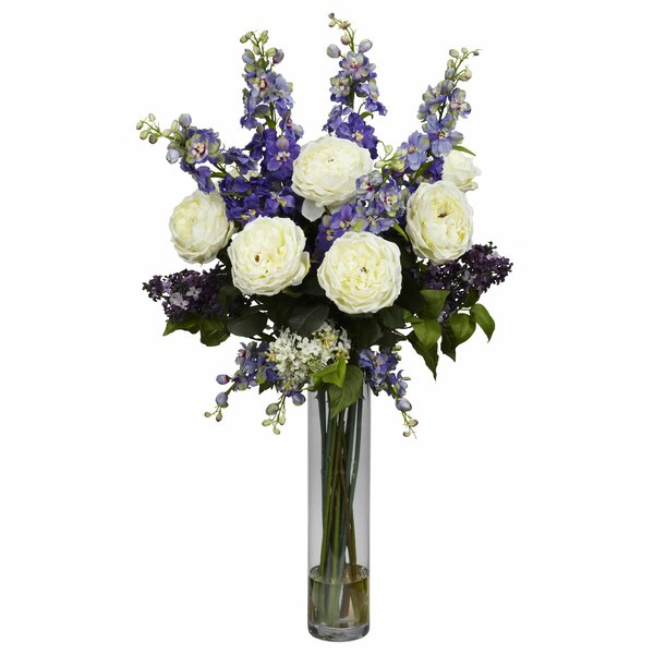 Rose, Delphinium and Lilac Silk Floral Arrangement by Nearly Natural