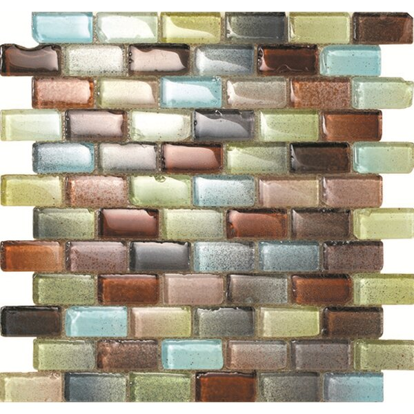 Fiji 1 x 2 Glass Mosaic Tile in Blue/Brown by Kertiles