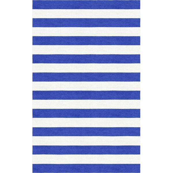 Hentish Stripe Hand-Tufted Wool Blue/White Area Rug by Latitude Run