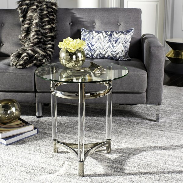 Charleston Glass Top 3 Legs End Table By Willa Arlo Interiors
