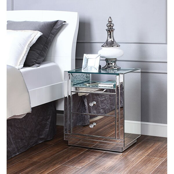 2 - Drawer Nightstand in Mirrored by Everly Quinn Everly Quinn
