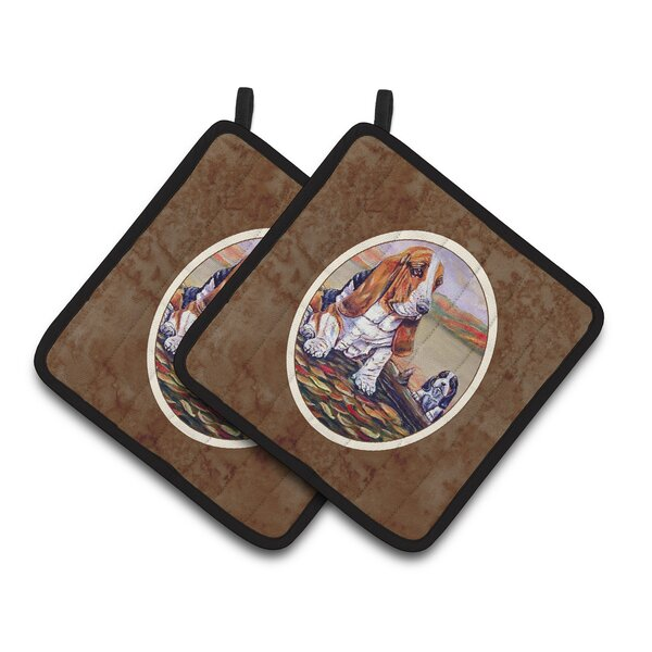 Basset Hound Potholder (Set of 2) by East Urban Home