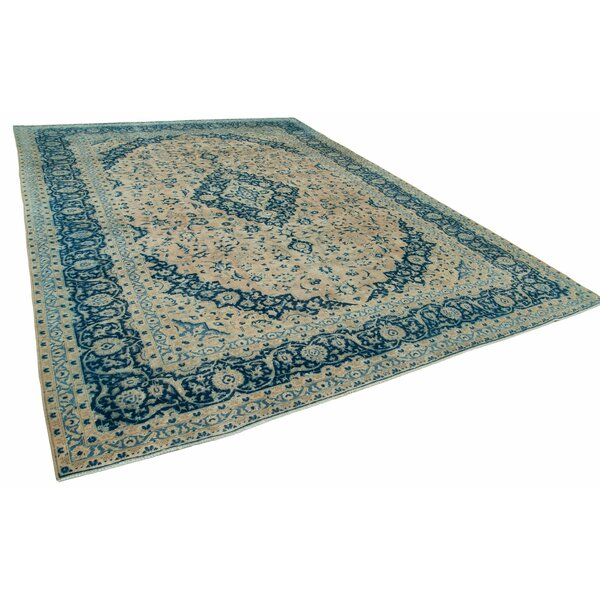 One-of-a-Kind Mathieu Hand-Knotted 1960s Turkish Beige/Blue 10' x 14' Area Rug