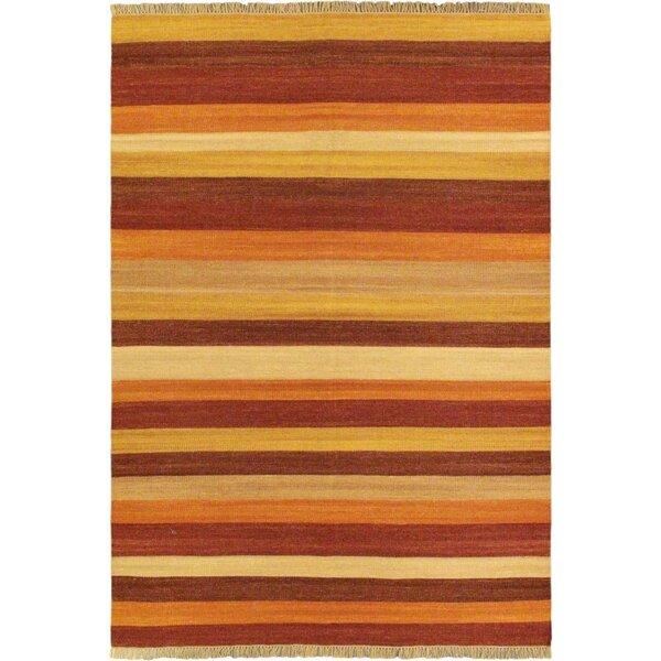 Fiesta Dark Orange Striped Area Rug by ECARPETGALLERY