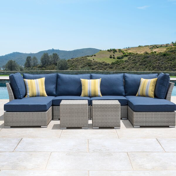 Coast 8 Piece Rattan Sectional Seating Group with Cushions by Orren Ellis