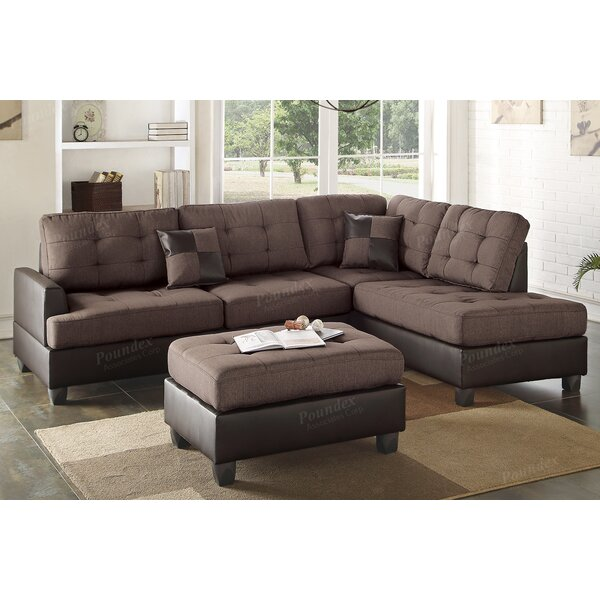 Fresh Look Giuliana Reversible Sectional with Ottoman Hot Deals 55% Off