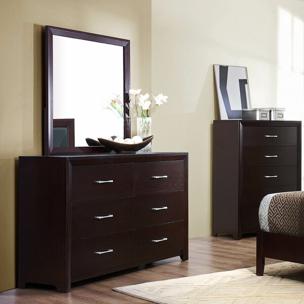 Edina 6 Drawer Double Dresser with Mirror by Woodhaven Hill