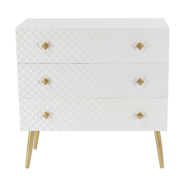 Casha Diamond-Patterned 3 Drawer Accent Chest by Everly Quinn Everly Quinn