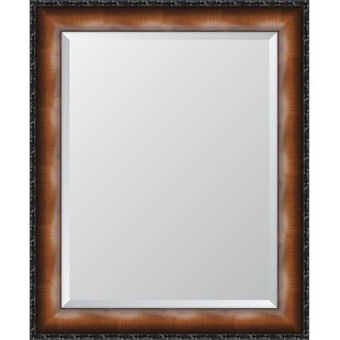 Melissa Van Hise Faux Walnut Veneer with Black Compo Edge Resin Frame Wall Mirror