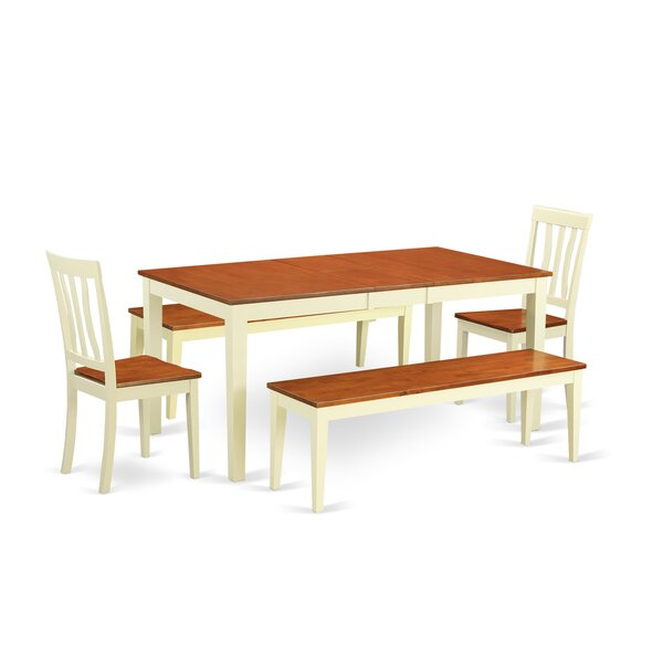 Cleobury 5 Piece Extendable Solid Wood Dining Set by August Grove