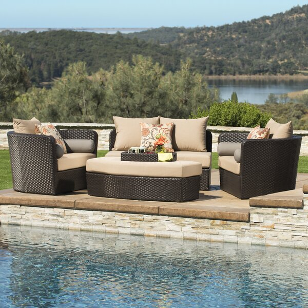 Hazle 4 Piece Rattan Sofa Seating Group with Sunbrella Cushions by Brayden Studio