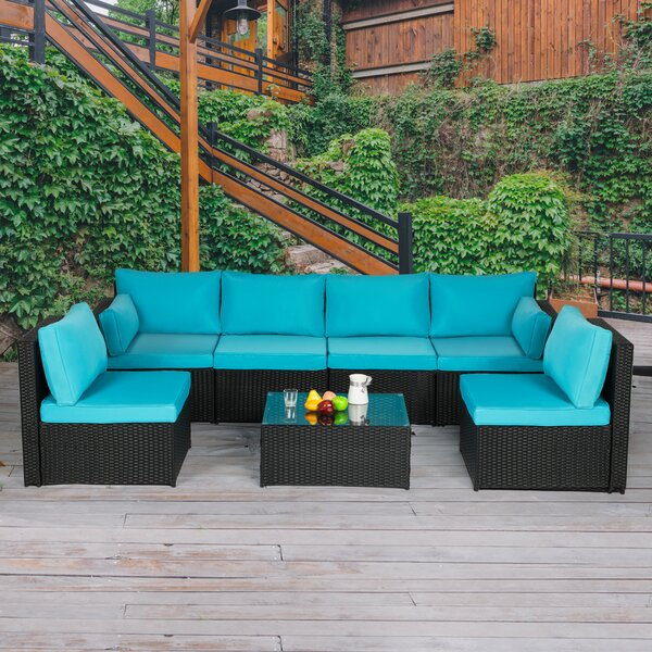 Hillburn 7 Piece Rattan Sectional Seating Group with Cushions by Ebern Designs