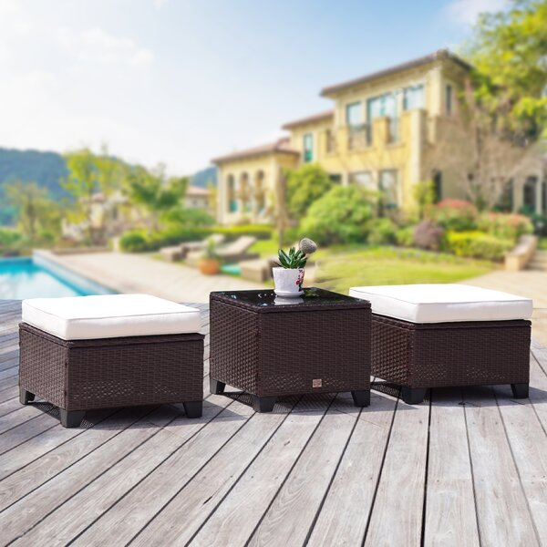 Scarlett Outdoor Ottoman with Cushions by Ebern Designs