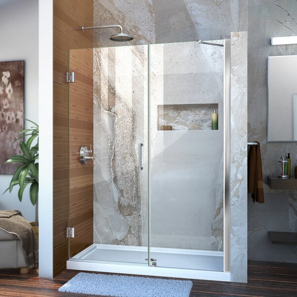 Unidoor 54 x 72 Hinged Frameless Shower Door with Clearmax™ Technology by DreamLine