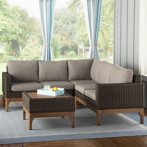 Tovar 4 Piece Sectional Seating Group with Cushions by Beachcrest Home