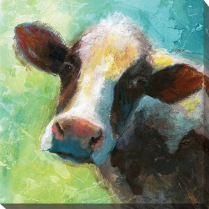 'Colorful Quirky Cow' Print on Wrapped Canvas by August Grove
