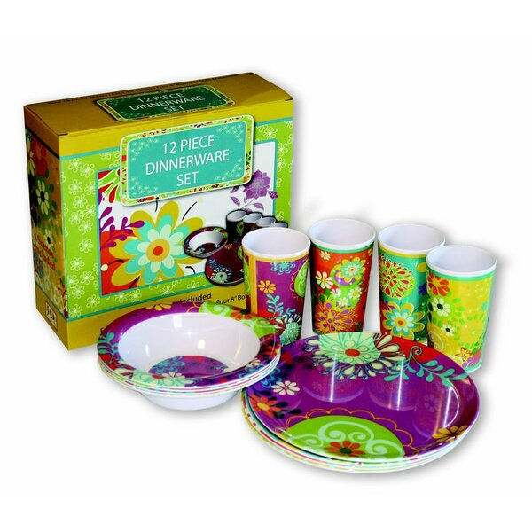 Trend Forward Melamine 12 Piece Dinnerware Set, Service for 4 by MotorHead Products
