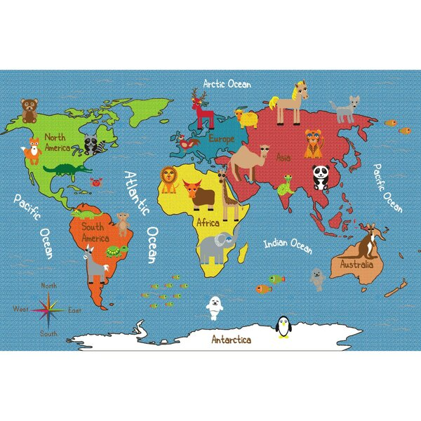 Animals Of The World Activity Blue Area Rug By Ecr4kids.