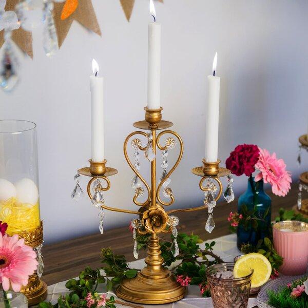Daina Antique 3 Light Glass Candelabra by Rosdorf Park