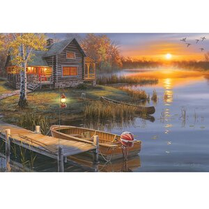 Autumn Lake Cabin' LED Graphic Art on Wrapped Canvas by Rivers Edge