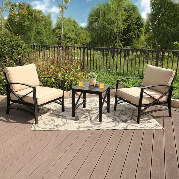 Stillwell 3 Piece Seating Group with Cushions by Charlton Home